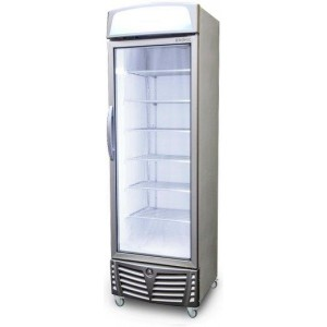 Bromic Upright Display Freezer with Lightbox LED Flat Glass Door 440L UF0440LS - Stainless Steel Door with White Body