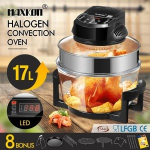Maxkon 17L Halogen Oven Cooker Electric Air Fryer 3Hr-Timer & LED Screen Black