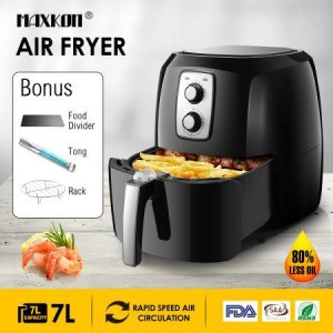 Maxkon 7L 1800W Oil Less XL Air Fryer Cooker Oven Timer Black