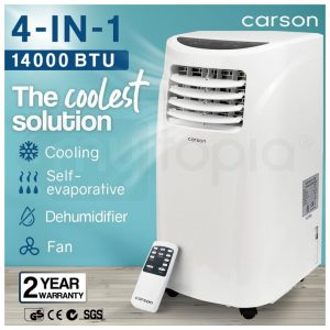 CARSON 4in1 Portable Air Conditioner 14000BTU Mobile Fan Cooler Cooling