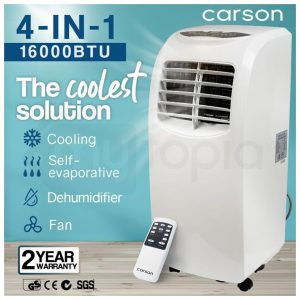 CARSON Portable Air Conditioner Mobile Fan Cooler Cooling Dehumidifier 16000BTU