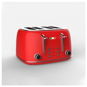Vintage Electric 4 slice Toaster Red Stainless Steel 1650W