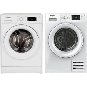 Whirlpool 8kg Front Load Washer & 9kg Heat Pump Clothes Dryer Laundry Bundle