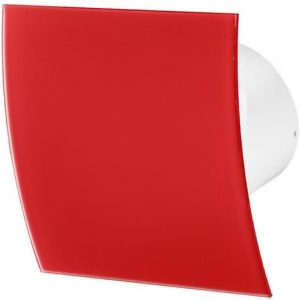 100mm Standard Extractor Fan Matte Red Glass Front Panel ESCUDO Wall Ceiling Ventilation