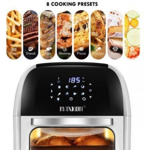 12L Rapid Cooking Oil Free Air Fryer Convection Oven Stove-Rotisserie,Dehydrate,Bake,Reheat-White