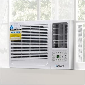Devanti 1.6kW Window Wall Box Refrigerated Portable Air Conditioner Cooler Cooling Only w/o Reverse Cycle 3 Speeds Swing Timer Sleep Mode Home Office