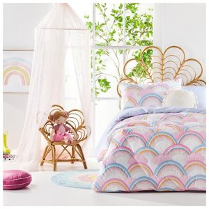 Adairs Kids Rainbow Quilted Bedlinen Cot Multi Quilt Cover Set