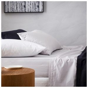Home Republic Stonewashed Cotton Bedlinen W17 Double Silver Flat Sheet By Adairs
