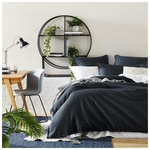 Home Republic Berlin Waffle Bedlinen Super King Charcoal Quilt Cover Set By Adairs