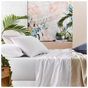 Metro Prewashed Cotton Bedlinen King White Sheet Set By Adairs