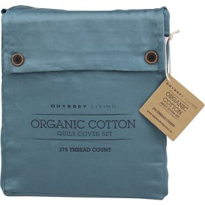 Odyssey Living Double Bed Smokey Teal Organic Cotton Quilt Cover Set
