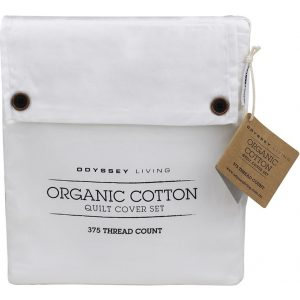 Odyssey Living King Bed White Organic Cotton Quilt Cover Set