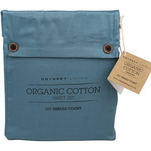 Odyssey Living Single King Smokey Teal Organic Cotton Quilt Cover Set