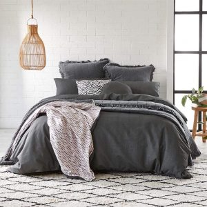 Alex Liddy Edit Quilt Cover Double Charcoal