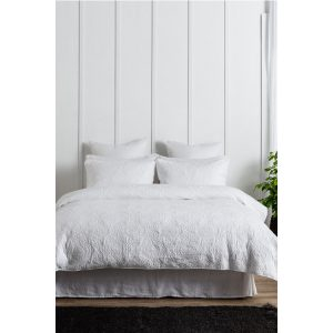 Camille Quilted Duvet Cover Set - White
