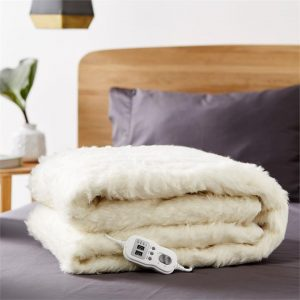 Electric 9-Heat Setting Wool Blanket Natural Linen House