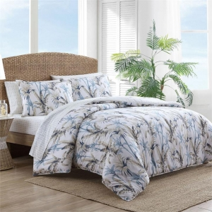 Catalina Quilt Cover Set Cotton Blue/Silver Tommy Bahama