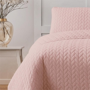 Maya Quilted Cover Set Polyester Peach LP6 Ardor Boudoir