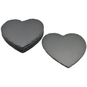 Argon Tableware Heart Shaped Natural Slate Placemats Set - Pack Of 6