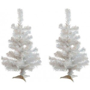 Harbour Housewares 60cm Artificial White Christmas Tree with Stand - Pack of 2