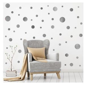 Silver Metallic Dots home decor, nursery decor, big wall decor, wall stickers, self-adhesive decals