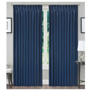 3Layers Fabric Blackout Pinch Pleat Curtain Drapes Dark Blue Color 1 Panel
