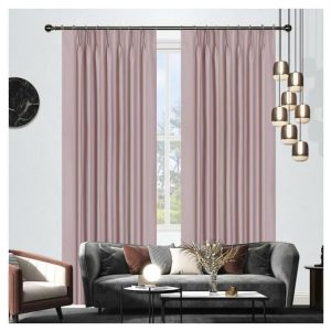 Oregon Blockout Pinch Pleat Curtains Pink Pair of 2