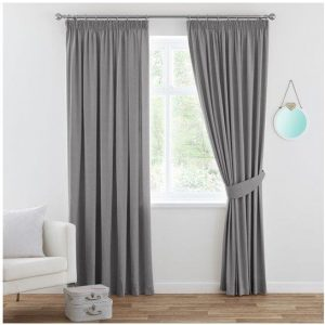 Window Treatment Bedroom Blackout Curtains Pencil Pleat Curtain Draperies Blockout Curtains for Living Room with Tie Backs, Soft and Thick, Solid Grey