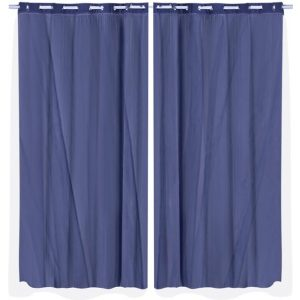 2x Blockout Curtains Panels 3 Layers with Gauze Room Darkening 240x230cm Navy