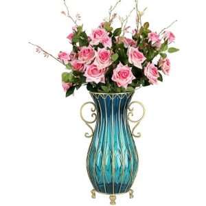 51cm Blue Glass Tall Floor Vase with 12pcs Pink Artificial Fake Flower Set