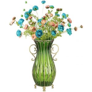 51cm Green Glass Tall Floor Vase with 12pcs Artificial Fake Flower Set
