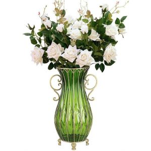 51cm Green Glass Tall Floor Vase with 12pcs White Artificial Fake Flower Set