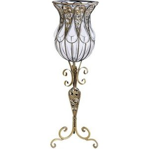 85cm European Clear Glass Floor Home Decor Flower Vase with Tall Metal Stand