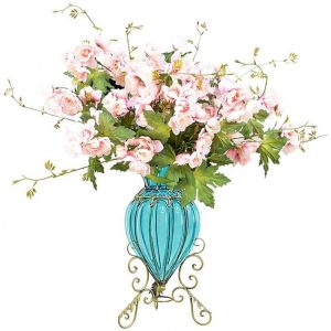 Blue Colored Glass Floor Flower Vase with 8 Bunch 3 Heads Artificial Fake Silk Hibiscus Home Decor Set