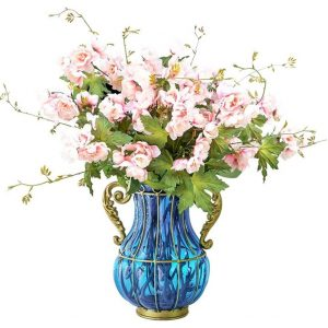 Blue Colored Glass Flower Vase with 8 Bunch 3 Heads Artificial Fake Silk Hibiscus Home Decor Set
