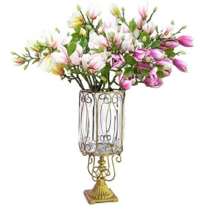 Clear Glass Cylinder Flower Vase with 6 Bunch 4 Heads Artificial Fake Silk Magnolia denudata Home Decor Set
