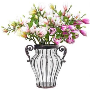 Clear Glass Flower Vase with 6 Bunch 4 Heads Artificial Fake Silk Magnolia denudata Home Decor Set