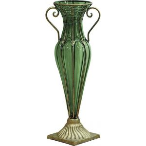 Green Colored European Glass Flower Vase Solid Base with Two Gold Metal Handle