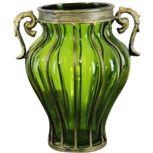 Green Colored European Glass Home Decor Flower Vase with Two Metal Handle