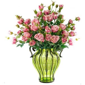 Green Colored Glass Flower Vase with 10 Bunch 6 Heads Artificial Fake Silk Rose Home Decor Set