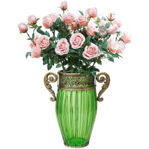Green Glass Flower Vase with 8 Bunch 5 Heads Artificial Fake Silk Rose Home Decor Set