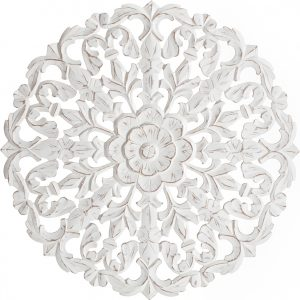 Round Carved Fleur Wooden Wall Decor 76cm - Distressed White