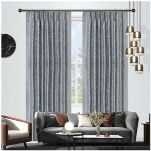 Seville Blockout Pinch Pleat Curtains Misty Pair of 2