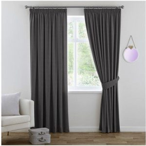 2x Blackout Window Curtains Pair for Bedroom Blockout Pencil Pleat Curtain Draperies for Living, Bonus Tie-backs, Soft and Thick, Grey, Multi Sizes