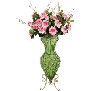 67cm Green Glass Tall Floor Vase and 12pcs Pink Artificial Fake Flower Set