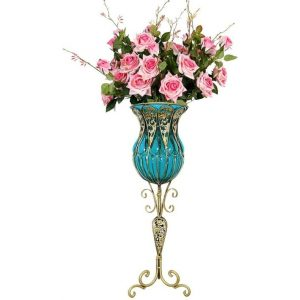 85cm Blue Glass Tall Floor Vase and 12pcs Pink Artificial Fake Flower Set