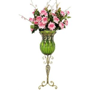 85cm Green Glass Tall Floor Vase and 12pcs Pink Artificial Fake Flower Set