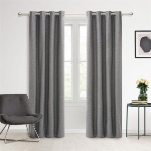 Faux Linen Set of 2 Blockout Eyelet Curtains Synthetic Fibre Assorted Sherwood