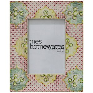 Floral Exotica Wooden Photo Frame Red/Yellow/Green Mes Homewares