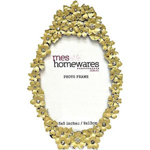 """Flowers 3.5x5"""" Oval Photo Frame Metal Yellow Mes Homewares"""